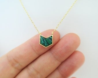 Malachite Necklace Green Stone Necklace Green Gemstone Pendant Deep Green necklace, layered necklace Birthday Gift Gold Necklace