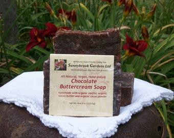 Chocolate Buttercream Hand-milled Soap, all natural, vegan friendly, cruelty free, handcrafted with organic ingredients