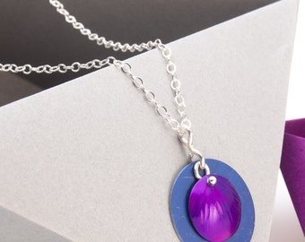 Purple and Blue Aluminum Pendant on Sterling Silver Chain -Gift for Women