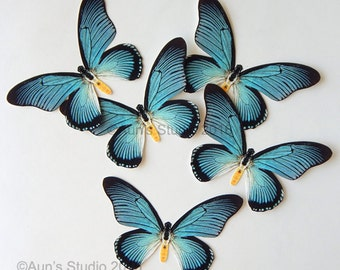Blue Paper Butterflies - Ready to use, cut outs -  5 pieces Blue Swallowtail