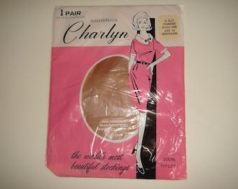 Pair Vintage Nylon Stockings / Charlyn Seamless Nylons Size 10 / Vintage Nylon Hosiery