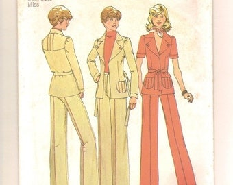 Vintage 70s Jacket & Pants Sewing Pattern - Simplicity 6772 Long or Short Sleeves, Unlined, Fitted, Yoke Back -Size 8