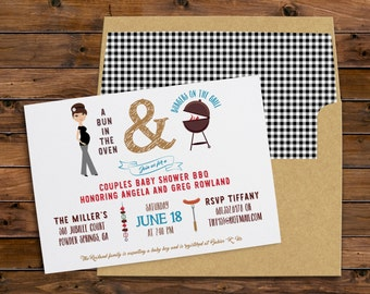 Summer Bbq, Party Invitation, Bun in the Oven, Black Plaid, Couples Shower, Outdoor Party, Baby Shower, Printable Digital, Printed Invites