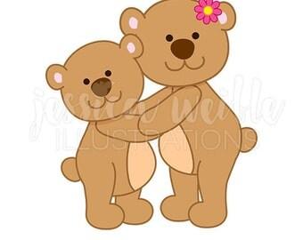 Mama Bear Hug Cute Digital Clipart, Mothers Day Clip art, Bear Graphics, Cute Bear Hug Illustration, #245
