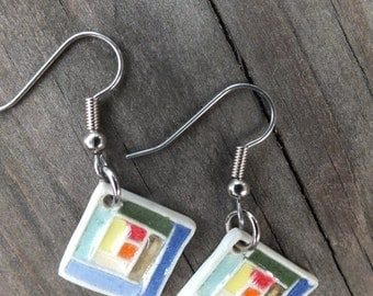Log Cabin Patchwork Earring