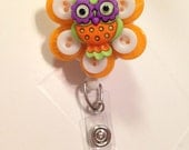 Handmade Retractable Pacifier Binky Badge Id Holder Cute Owl Orange Unisex