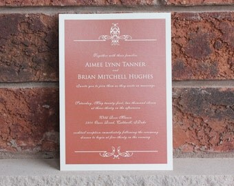 AMELIA - CUSTOMIZED SAMPLE Regal Script Burnt Orange Rustic Red on Cream Wedding Invitation