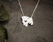 Maltese necklace, tiny sterling silver hand cut pendant with heart, tiny dog breed jewelry