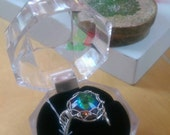 Vibrant rainbow wire wrapped adjustable statement ring