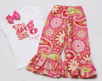 Big Sister Shirt and Matching Ruffle Pants - With Coordinating Hairbow - Strawberry Paisley
