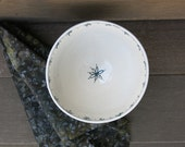 Ceramic Bowl with Handpainted Botanicals White and Blue Green Porcelain for the Home, Handmade Artisan Pottery by Licia Lucas Pfadt