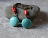 Rustic Boho Turquoise Earrings Red Coral Earrings Coral Branch Dangles Unique Long Drops Antique Brass Birthstone Gift Summer Beach Style