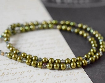Green Freshwater Pearl Necklace Peridot Olive Green Necklace Moss Green Beaded Pearls Gold Filled Natural Organic Bridal Anniversary Gift