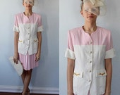 Vintage Skirt Suit, Versace Collection, Versace, Vintage Versace,  Pink and White 2 Piece Pleated Skirt Suit, Resort, Wedding, Cruise Wear