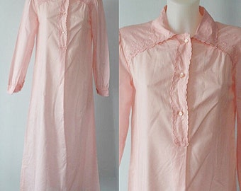 Vintage Nightgown, Vintage Nightgowns, 1970s Nightgowns, la Castellana, Pink Cotton Nightgown, Pink Nightgown, Cotton Nightgown, Nightgowns