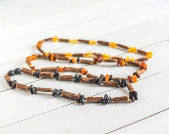 Hazelwood Amber Teething Necklace - Amber Necklace - Hazel Wood- Child's Amber Necklace - Genuine Baltic Amber - Baby Necklace - Shower Gift