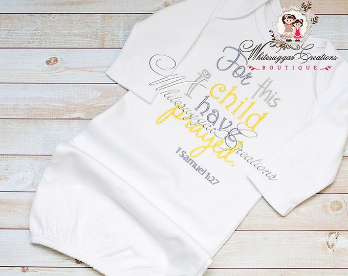 For this Child I have Prayed Bodysuit, Bible Verse Bodysuit, Newborn Baby Gown, Hospital Outfit, Coming Home Outfit, New Baby Clothes
