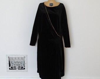 Vintage 1920s Dress - 20s Velvet Dress - The Esther