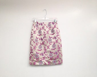 Vintage 1990s High Waisted Shimmery Floral Tight Skirt