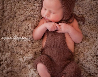Knit Mohair Newborn Romper and Bonnet Set - Knit Mohair Alpaca - Mud - Set - Natural Coconut Wood buttons - Photography Prop