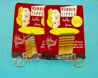 Vintage 50s Bobby Pins 2 Original Cards by Helen Cornell w 20 Gold Rubber Tipped Bobby Pins