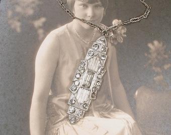 Original Art Deco Paste Rhinestone Flapper Necklace, 1920 Antique Edwardian Pendant Silver Vintage Bridal Great GATSBY Downton Abbey Jewelry