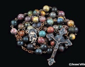 Catholic Rosary Red Creek Jasper Antique Copper Traditional Rustic Beads