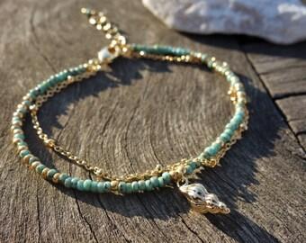 Turquoise Seed Beaded Seashell Charm Bracelet