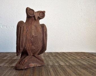Vintage Carved Wooden Folk Art Owl Figure