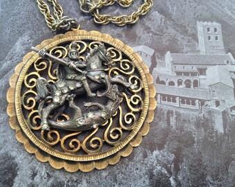 Tortolani St. George & The Dragon Gothic Pendant –  Renaissance Revival Medieval Theme 1960s Jewelry