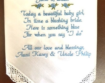 Baptism handkerchief Special Baptism Gift Embroidered Handkerchief Baptism Gift for Boy or Girl Personalized Dated Baptism Custom Gift