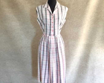 Vintage 50's Day Dress, ADORABLE Pink Plaid Sundress, Sleeveless, Rockabilly, Small to Medium, Bust 38, Waist 28