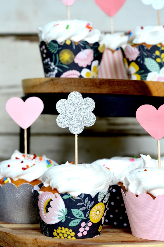 Modern Floral Paper Cupcake Wrappers - pastel flowers on a black background
