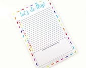 Shop Exclusive - LET'S DO THIS! to-do list notepad - to-do list note pad with rainbow border and hearts