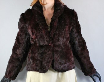 Vintage 1980s 80s Women's Dark Wine Merlot Boho Groupie Rock n Roll Fall Winter New Years Eve Rabbit Fur Coat