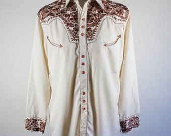Scully Western Shirt / Embroidered Shirt / Snap Button Shirt / Rodeo Cowboy Shirt / Cream Brown / VLV / Vintage /Mens / XL / GOGOVINTAGE