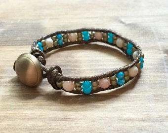 Upcycled Brown Wrap Bracelet with Turquoise, Ivory, and Bronze Bead Accents