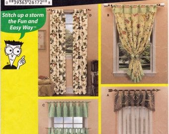 Simplicity 5783 Window Treatments Sewing Pattern, Tab Top Valances, Tab Top Curtains