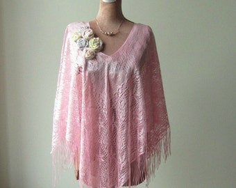 Pale Pink Fringe Poncho, Anthropologie Inspired, Pink Fringe Kimono, Upcycled Clothing, Fringe Tops, Mori Girl Tops, Shabby Chic Clothing