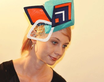 Diamond Headpiece in turquoise, orange, navy and white