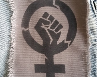Feminist fist patch feminist feminism stencil spray paint diy handmade by Rainbow Alternative power to the people
