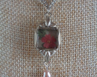 Upcycled vintage watch necklace- Flowers and pearl necklace