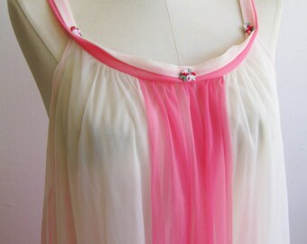 Vintage 50s Peignoir Nightgown Pink & White Two Tone Nylon Chiffon Semi Sheer Babydoll Gown
