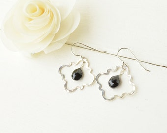 Sterling Silver & Black Spinel Quatrefoil Earrings