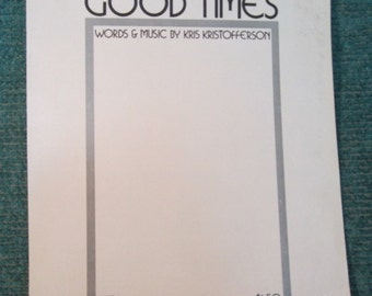 Vintage 1960's Kris Kristofferson Sheet Music -For the Good Times -1968 -Vintage Country Sheet Music -1960's country Kris Kristofferson