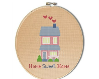 """Home sweet home cross stitch pattern: """"Bright detached home"""" - new home gift - cross stitch pdf pattern-INSTANT DOWNLOAD"""