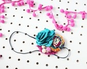 Fall Jewel - singed satin flower and rosette headband with chiffon and rose button bow