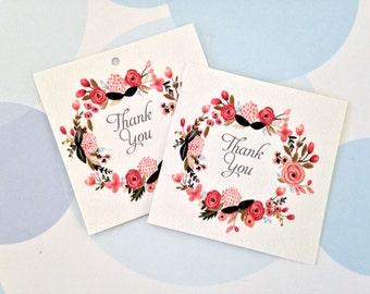Thank You Tags, Wedding Favor Tags, Set of 24