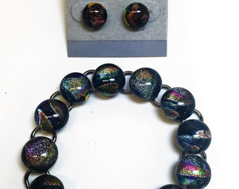 Fused Dark Iridescent Dichroic Glass Bracelet and Earring Set