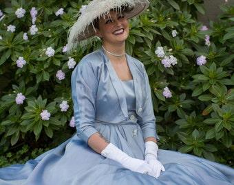 Docile Dreams in the Garden - Vintage 1950s Textured Satin Rayon Sleeveless Dress w/Crop Bolero